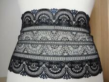 Nicht elastische bestickte Spitze,Spitzenborte in schwarz und blau 18cm breit