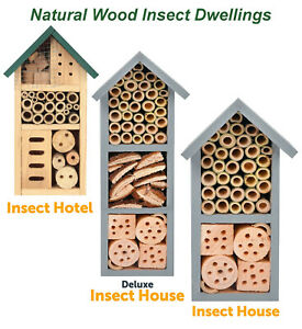 Wooden Insect Bee Bug Hotel House Natural Wood Shelter Garden Nest Box Nesting