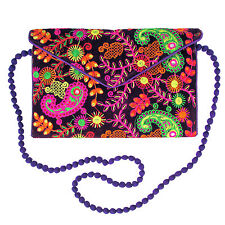 US SELLER  Paisley Pattern Purple Hand Embroidered Clutch Bag Purse Tablet Case