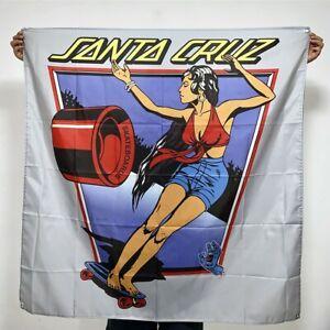 Santa Cruz Banner Screaming Hand Tapestry Skateboard Girl Flag Art Poster 4x4