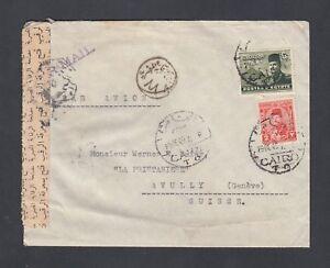 EGYPT 1942 WWII CENSORED AIRMAIL COVER CAIRO TO AVULLY GENEVA SWITZERLAND