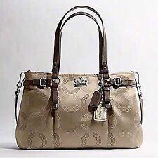 NWT Coach Madison Dotted Op Art Carryall Tote Bag 16366 - Khaki/Mahogany