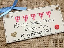 Personalised  Home Sweet Home Housewarming Plaque Sign Moving Gift Bunting ⭐