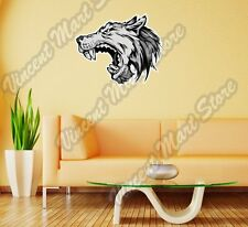 """Gray Wolf Angry Face Forest Wild Life Wall Sticker Room Interior Decor 22""""X22"""""""