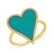 14K Yellow Gold Heart Turquoise Diamond Ring Cocktail Right Hand Statement