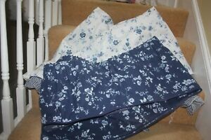 """Beautiful Accord 68 x 54"""" Curtains Blue/White Floral Frilled With Pelmet 6642"""