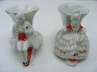 Vintage Pair 1950's Victorian Man  Woman Miniature Vase Made In Japan Porcelain