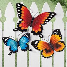 Wall  & Fence Metal Butterflies Decor Set of 3 Hanging Garden Indoor Outdoor New