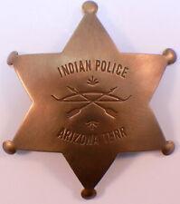 Embossed Indian Police Arizona Territory Solid Brass Badge Pin