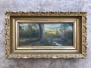 7''X12'' Antique Original oil painting Signed Landscape Art On Wood