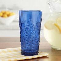 NEW Pioneer Woman Set Of 4 Tumblers 24oz Cobalt Blue Sunny Days Embossed Tritan