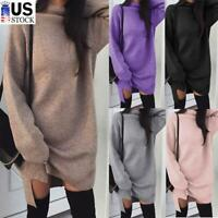 Women's Loose Sweater Dress Turtle Neck Long Sleeve Sexy Pullover Mini Dresses