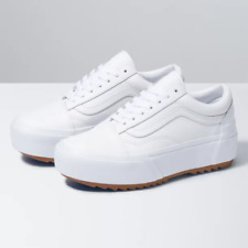 Vans Leather Old Skool Stacked True White Platform Shoes Women's Size 8 NEW
