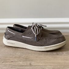 SPERRY TOPSIDER Gamefish 3 Eye Boat Shoes Mens 10 M Gray Leather