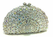 Silver/WhiteAB Peacock Handmade Austrian Crystal Bridal Evening Cocktail Bag