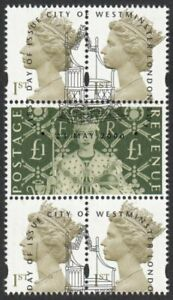 Great Britain, 2000 1st Class x 4 Se-tenant with £1 ex M/S. SG MS2417 Fine Used