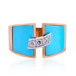 Natural 0.15 Ct. SI/HI Diamond Bar Ring 18k Rose Gold Turquoise Enamel Jewelry