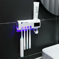 UV Light Toothpaste Dispenser Toothbrush Sterilizer Holder Wall Mount Automatic-
