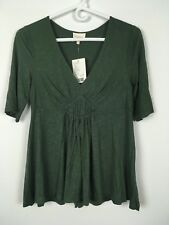 Deletta Womens Green V-neck Short Sleeves Dress Top Shirts Size M A1312