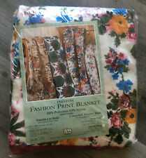 VINTAGE NOSWT Fashion Print Blanket Floral KITSCH Preston USA Twin/Full Bed NIP