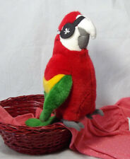 "SOS Save Our Space One Eyed Pirate Parrot Red Green Macaw 9"" 2003"