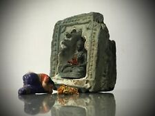 ANTIQUE VINTAGE INDIAN GREEN QUARTZITE NICHE. WALL MOUNTED OIL /GHEE LAMP 19TH c