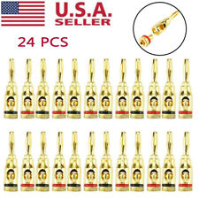 Plugs Audio Jack Speaker 24Pcs Gold 24K Male Banana Wire Cable Screw Connector