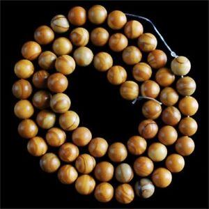 "VD2708-s 6mm Wood Grain Stone Ball Loose Beads 15"""