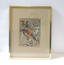 Cydney Grossman Watercolor Lithograph Print Rodeo Clowns Framed New Orleans