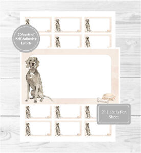 Weimaraner 42 Self Adhesive Stickers, Blank For Address Labels/Fun Dog Gift Tags