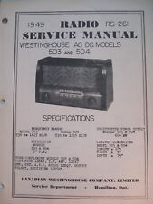 Service Manual Original Vintage Westinghouse Radio Model 503 & 504