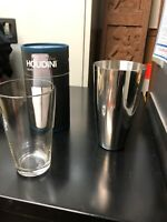 Houdini Boston Shaker Cocktail Stainless Steel Drink Shaker & Glass New Open Box