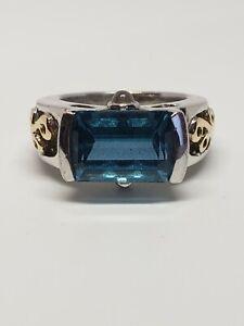 Gently Used Samuel Benham BJC 14k Sterling Topaz Ring Size 5  NO RESERVE!