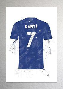 Ngolo Kante - Chelsea Football Shirt Art - Splash Effect - A4 Size