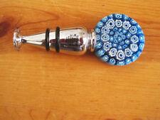 New La Mode Blue Millefiore Hand Blown Wine Glass Bottle Stopper Nib