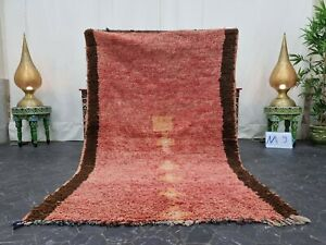 "Moroccan Handmade Vintage Rug 4'x6'4"" Berber Abstract Faded Pink Orange Carpet"