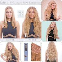 "Koko Couture Thick 3 Piece Beach Wave 20"" Clip in Curly Hair Extension Weft"