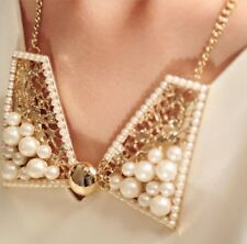 Women Jewelry Necklace Luxury Pearl Sweet Bow Short Necklace Fake Decor Collar