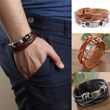 Stylish Men Chic Retro Metal Studded Beads Brown Leather Bracelet Snaps Bangle