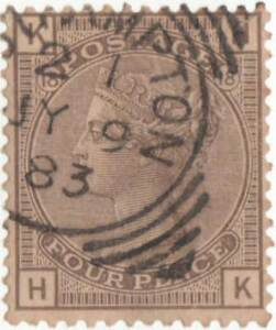 QUEEN VICTORIA 1880 4d GREY-BROWN  PLATE 17.. USED..S.G.160