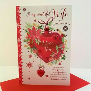 Grass Roots Wonderful Wife Christmas Card I Love You Heart Bauble/853199