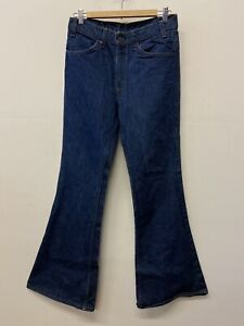 Vtg 70's Levis 684 Big Bell Bottom Indigo Jeans 684-0217 Orange Tab 31 X 33 Dark