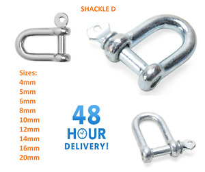 Shackles  5 6 8 10 12 14 16 20mm Galvanised Steel Lifting Towing Bow Dee D Link