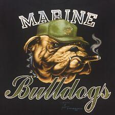 Vintage Marines Bulldog T-shirt Motorcycle Bike USMC Military Dog Cigar