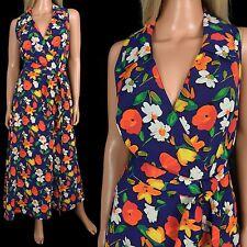 Sharon Young Mid-calf Maxi Dress Floral Crossover Wrap Sleeveless vtg 90s sz 6