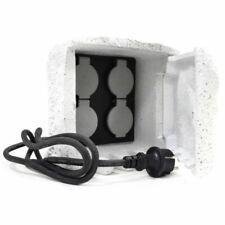 4-Fach Gartensteckdose Außensteckdose Stromverteiler Außenbereich Stein Weiß