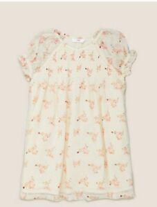 MARKS AND SPENCER CREAM GIRLS Chiffon Floral Dress 4-5 YRS BNWT VERY PRETTY