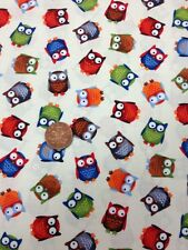 Owl Owls Cream Red Blue Childrens Fun Quilting Cotton 100% Timeless Treasures