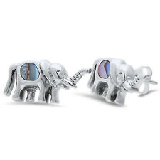 Simulated Abalone Shell Elephant Stud 925 Sterling Silver Post Earrings