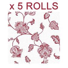 White Red Floral Wallpaper Glitter Flowers Glamour Luxury Textured Vinyl x 5